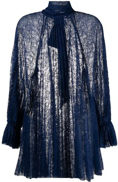 pleated lace blouse - Blue