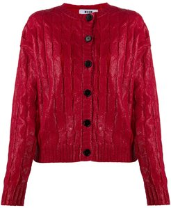 waxed-effect cardigan - Red