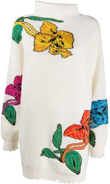 floral knitted long jumper - White