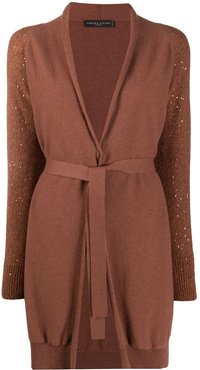 sequin knit cardigan - Brown