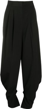 high-waisted pleated trousers - Black