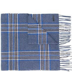 check knitted scarf - Blue