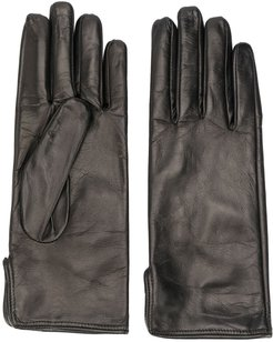 leather driving gloves - Black