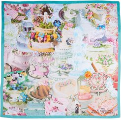 The Cake Collage Square scarf - Blue
