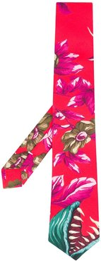 graphic print tie - Red