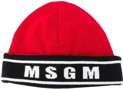logo-knit beanie - Red