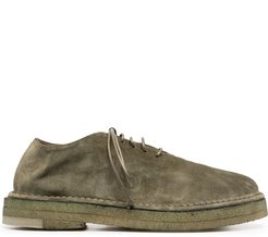 soft lace-up leather shoes - Green
