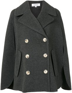 double-breasted cape jacket - Grey