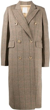 checked double-breasted coat - Brown