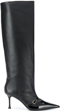 knee-length pointed-toe boots - Black