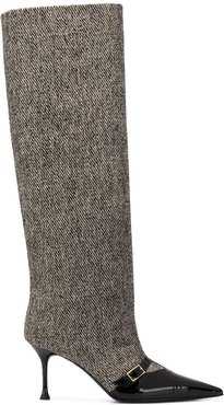 pointed-toe knee-length boots - Black