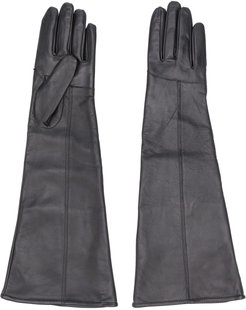 long stitched panel gloves - Black