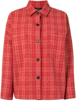 check oversized shirt - Red