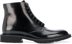 lace-up polished ankle boots - Black