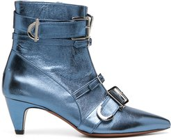 multi-buckle ankle boots - Blue