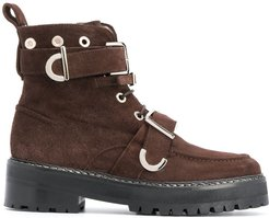 buckle-embellished ankle boots - Brown