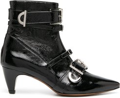multi-buckle ankle boots - Black