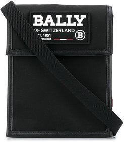 logo patch messenger bag - Black