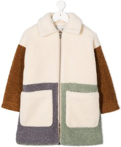 faux-shearling panelled coat - Neutrals