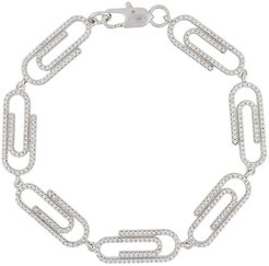paper clip iced out bracelet - SILVER