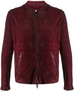 band collar suede jacket - Red