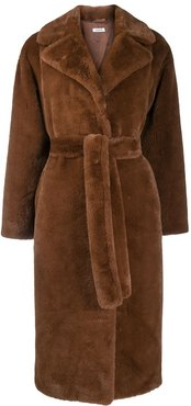 shearling long-length coat - Brown