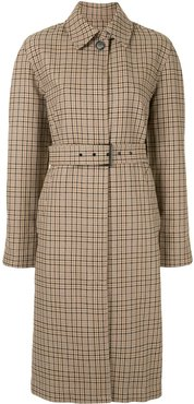 checked belted trench coat - Brown