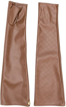 fingerless perforated gloves - Brown