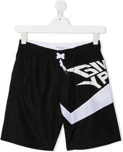 stylized logo swim trunks - Black