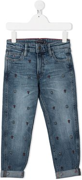 embroidered logo straight jeans - Blue