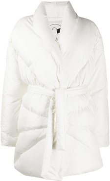 belted padded coat - White