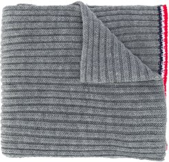 logo patch knitted scarf - Grey