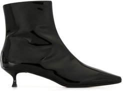 high-shine finish ankle boots - Black