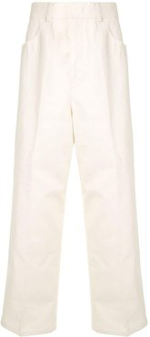 flat front trousers - White