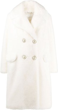 faux fur double-breasted coat - White