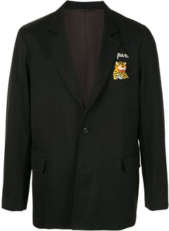tiger-embellished tailored blazer - Black