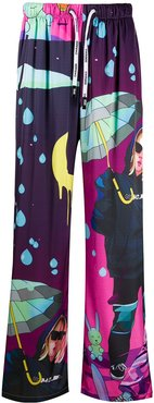 graphic print drawstring trousers - PURPLE