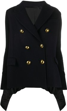 contrast panel embossed button double-breasted coat - Blue