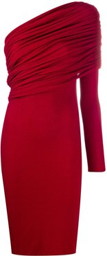 one shoulder ruched dress - Red