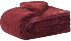 Shirley faux-fur blanket - Red