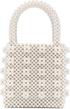 Antonia pearl-embellished tote - Neutrals