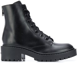black calf leather ankle biker boots