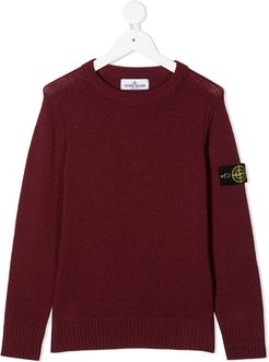 logo long-sleeve jumper - Red