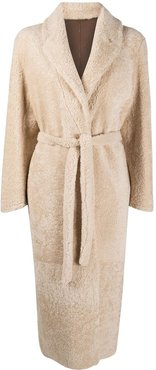 shearling double breasted coat - Neutrals
