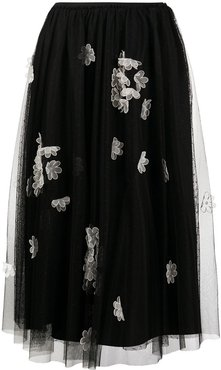 floral-applique tulle layered skirt - Black