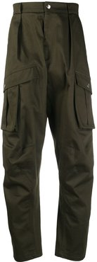 draped cargo trousers - Green