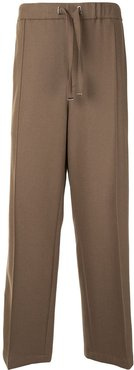 high-waisted track trousers - Brown