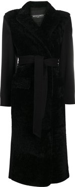 belted shearling coat - Black