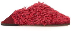 faux fur slippers - Red
