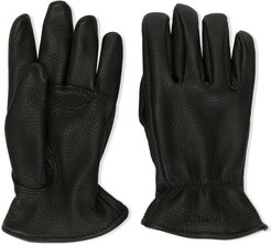 lined leather gloves - Black